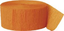 Orange Crepe Paper Streamer Roll 81ft